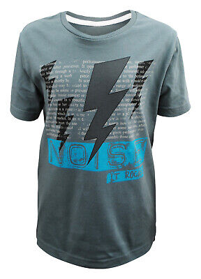 Boys Ex Zara T-Shirt Top Cotton It Rock's Print Grey Age 3 to 14 Years Kids C5.4