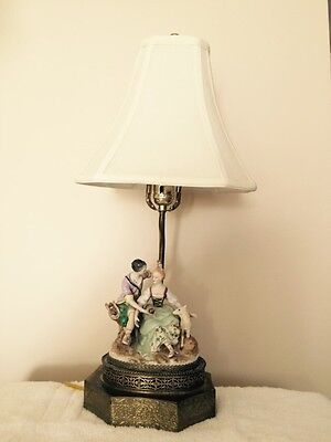 Antique Victorian Porcelain And Brass Lamp- Seated Male And Female Figures
