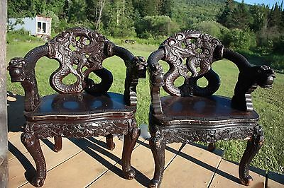 Antique Meiji Export Chairs Circa 1840 1860 Dragons
