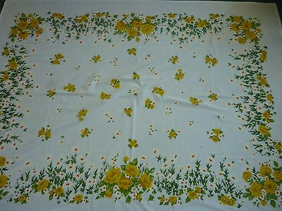 Large Vintage Tablecloth Yellow Roses 68X53