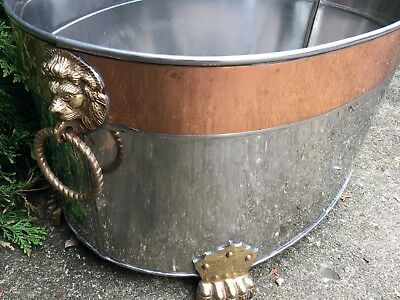 EX LARGE Vintage Polished BRASS Flower Planter Cache POT Tub W Feet Lions Heads