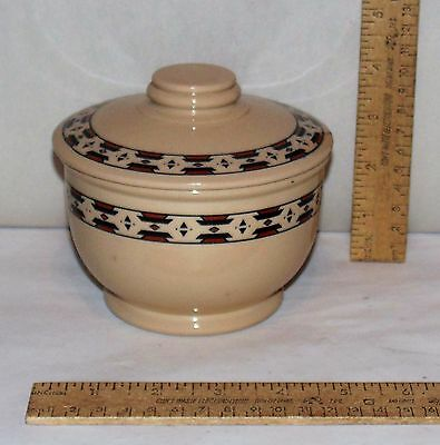 Inca ware - Shengango China - Restaurant Ware Covered Bowl - Patterned - Damaged