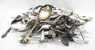 5 LB Miscellaneous Silverplate Flatware (Lot 53) - 68 pc for Table or Crafts