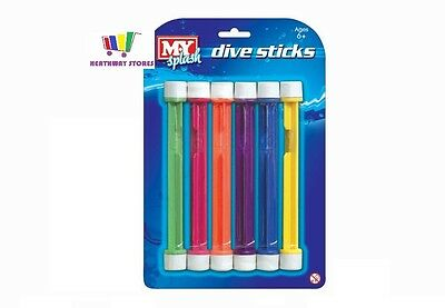6 X Underwater Swimming Pool Dive Sticks Children/kids Swim Fun Toys Holiday New