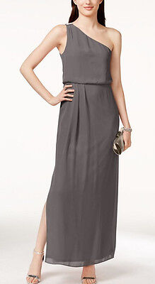 Adrianna Papell ~Gray Chiffon Embellished One Shoulder Blouson Gown 12 NEW $119