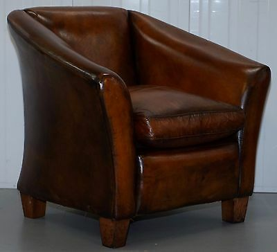 Restored Coil Sprung Base Vintage Aged Brown Whiskey Leather Club Armchair