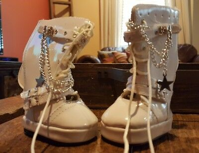 "Leather White Go Go Boots With Chains Shoes 18"" American Girl Doll Clothes"