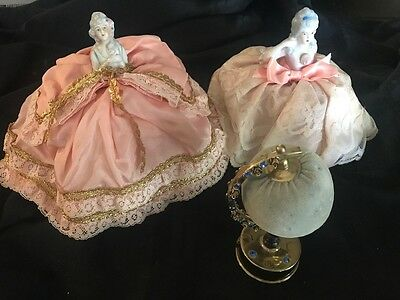 3 vintage Porcelain Pin Cushion Half Doll, w/ Original Label, Victorian