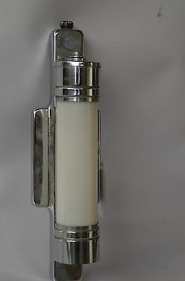 Vintage Art Deco Chrome Sconce Wall Light Cylinder Milk Glass Shade Art Deco