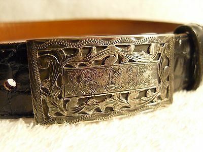 Genuine antique solid sterling silver belt buckle (Mexico)