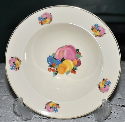 "W.S. George 8"" soup bowl multi-color fruit cream body gold trim pattern GEO38"