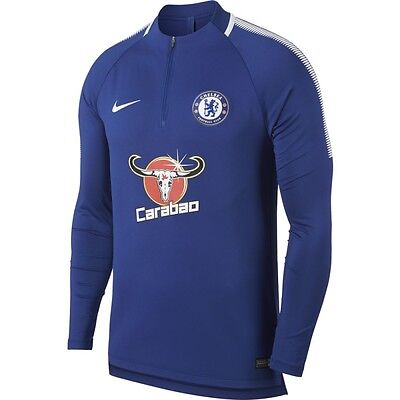 Nike Chelsea FC Official 2017 - 2018 MidLayer Soccer LS Training Top Royal Blue