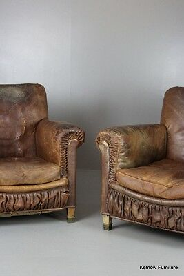 Pair French Antique Rustic Well Worn Brown Leather Armchairs