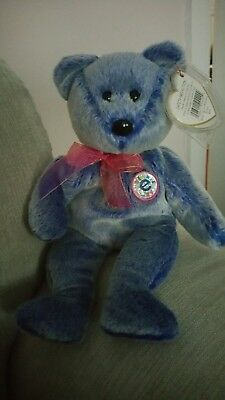 TY Beanie Baby. Periwinkle the bear. Very Rare. Numerous Errors.