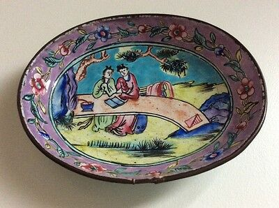 Antique 18th Century Chinese Famille Rose Enamel Copper Dish Qing Dynasty