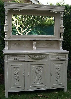 Painted carved mirrored dresser