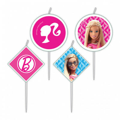 Barbie 4 Pack Pick Candles Birthday Party Cake 6cm