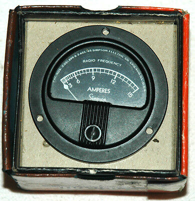 Simpson Panel Meter 0 - 15 Amperes Radio Frequency, NOS