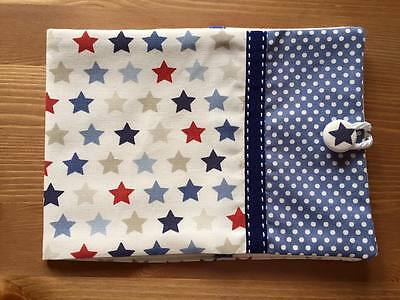 Handmade Baby Health Record Book Cover for the Red NHS Book-Star Blue Spot