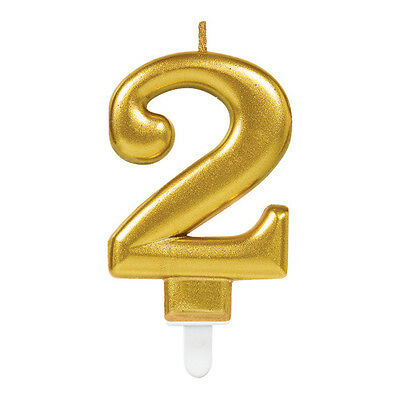 Large Gold Number 2 Candle Party Birthday Cake 6cm