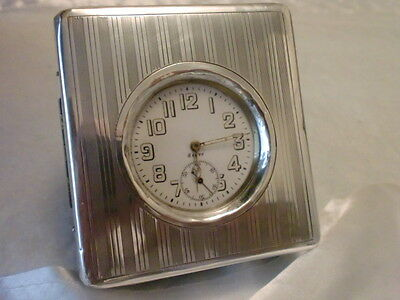 Ww1 8Day Swiss  Octava Travel Clock With Travel Case 1914 V.g.c