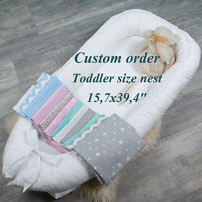 Custom order Toddler size babynest with Removable cover, grand nest, cot