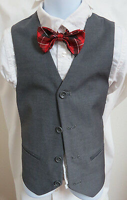 Sz 7 Charcoal Gray Solid BOYS Polyester #194T Suit Vest Waistcoat