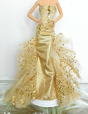 Barbie Doll Gold Glamour Gown,Fits Model Muse Body Only