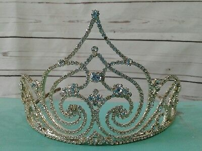 Vintage Sparkling Crystal Rhinestone Pageant Crown Tiara head Piece Bridal Prom