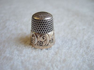 VINTAGE STERLING SILVER & GOLD BAND #9 SIMMONS THIMBLE 4.9g