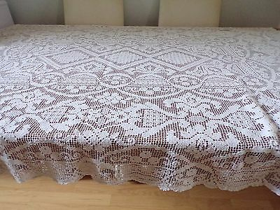 Beautiful Vintage Handmade Bobbin /needle Lace Natural Tablecloth 45X62 Ins
