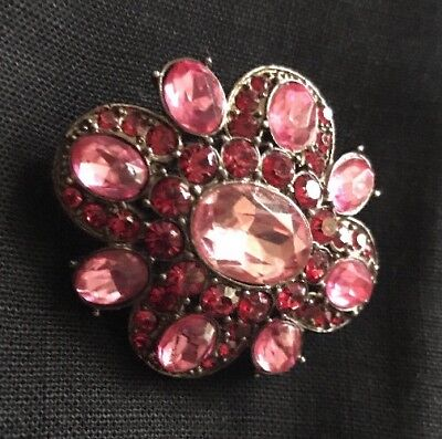 """Stunning Vintage Signed LC Pink And Red  Rhinestone Brooch Pin """"NICE"""""""