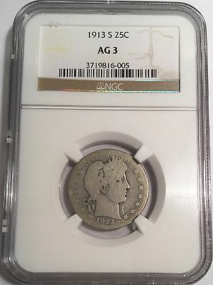 1913-S Barber Quarter NGC AG3  Beautiful Coin Extremely Rare Looks Better