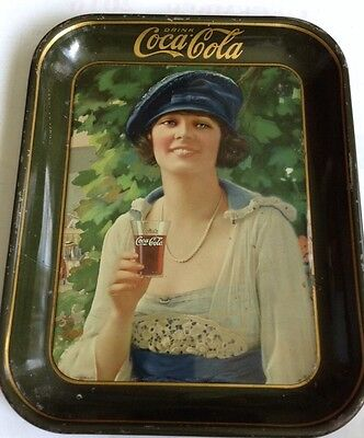 1921 Coca Cola Tray Green Rim Hard To Find Ex Coke Girl Wearing Beret