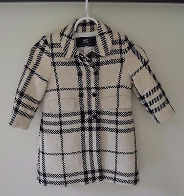 Authentic Girls Burberry Wool Blend Cream/Black Check Coat Size 3