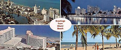 Greetings from Miami Beach Florida FL 4 view oversize postcard