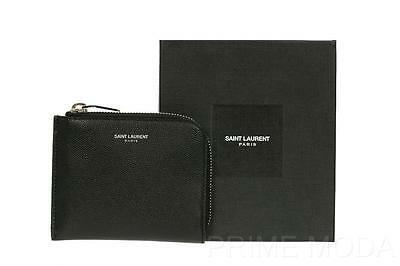 New Ysl Saint Laurent Black Grain Leather Zipped Coin Pouch Card Holder Wallet