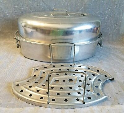 Mirro #878M Oval Aluminum Roaster Oven Pan With Insert Rack & Vented Lid