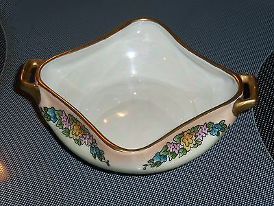 Pretty Prov Saxe ES Germany Square Floral Iridescent Handled Bowl w/Gold Trim