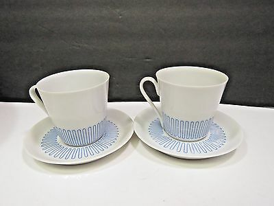 Pair of Lyngby Porcelain Denmark Demitasse Cups and Saucers Mid Century Mod