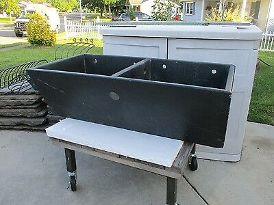 Vintage Antique Double Bowl Soapstone Laundry / Kitchen Sink