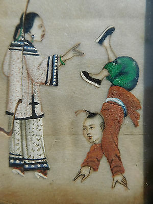 Antique Chinese Hand-Painted Miniature Painting - Framed
