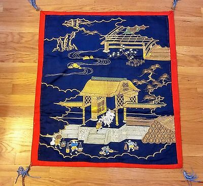 Rare &  Elaborate Early 19th Century Edo Japanese Silk Gold Embroidered Fukusa