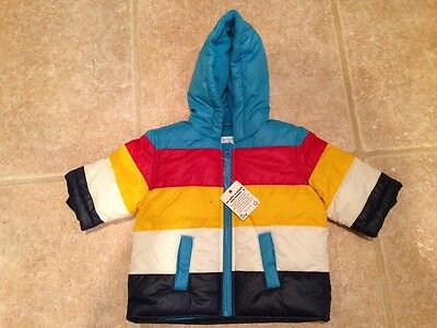 NEW Childrens Place Boys Girls 0-6 Months Colorful Striped Puffer Jacket