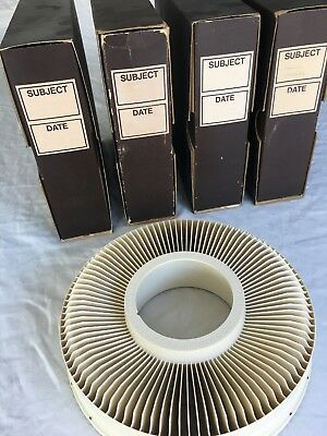 4 GAF SAWYER Rotary Carousel 100 Slide Trays in Original Boxes great cond