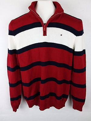 Tommy Hilfiger Boys Large 16-18 Striped 1/4 Zip Mock Neck Pullover Sweater Red