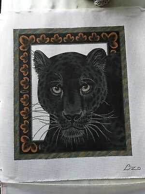 Black panther Hand Painted Needlepoint Canvas Liz Dillon
