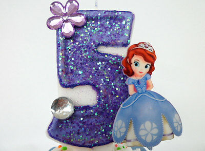Sophia the First  Birthday Candle. cake topper, cupcake topper