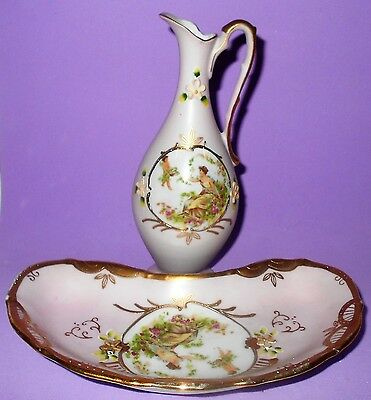 Vintage Ardalt Circe & Cupid Vanity Tray & Urn Light Pink Gold Accents Numbered