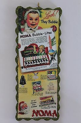 Noma Bubble Light Ad * Christmas Ornament * Vtg Card Image * Glittered